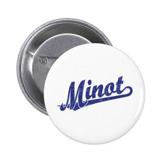 Minot script logo in blue distressed 2 inch round button