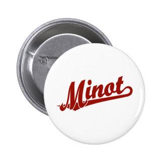 Minot script logo in red 2 inch round button