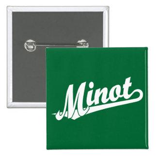 Minot script logo in white 2 inch square button