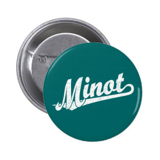 Minot script logo in white distressed 2 inch round button