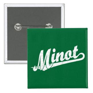 Minot script logo in white distressed 2 inch square button