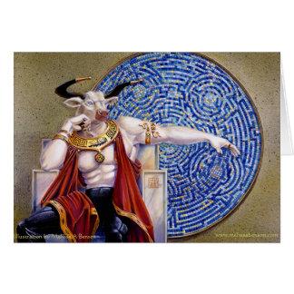 Minotaur con la tarjeta del mosaico