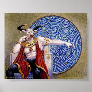 Minotaur with Mosaic Print