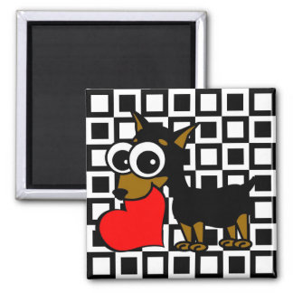 MinPin Has My Heart MinPin Has My Heart 2 Inch Square Magnet