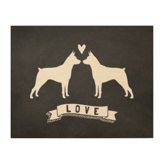 MinPins Love - Dog Silhouettes with Heart Wood Print