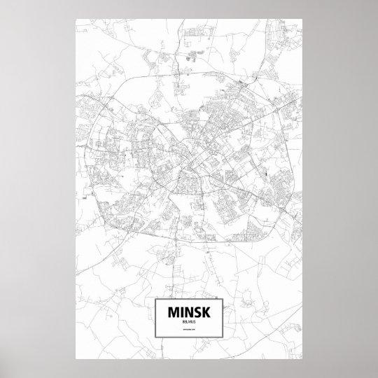 Minsk, Belarus (black on white) Poster