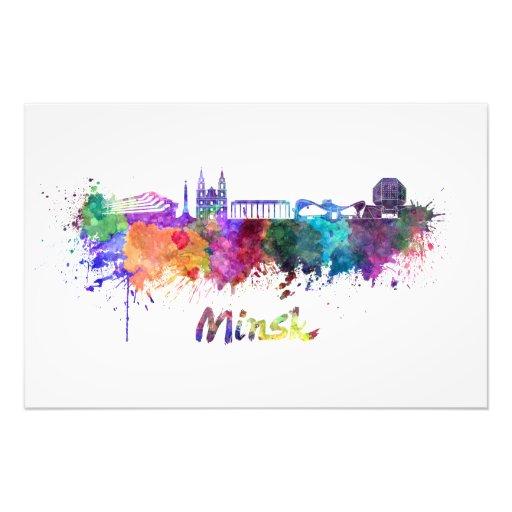 Minsk skyline in watercolor fotografias