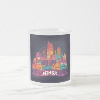 Minsk - Travel to the famous Landmarks Frosted Glass Coffee Mug