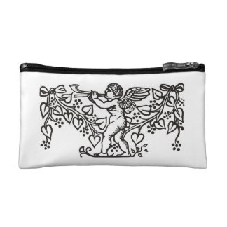 Minstrel design with baby angel blowing trumpet cosmetic bag