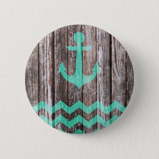 Mint Anchor on old wood Button