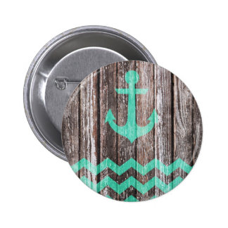 Mint Anchor on old wood 2 Inch Round Button
