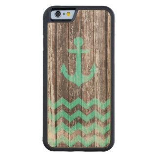 Mint Anchor on old wood Carved® Maple iPhone 6 Bumper