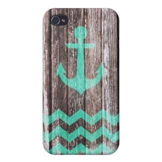 Mint Anchor on old wood Case For iPhone 4
