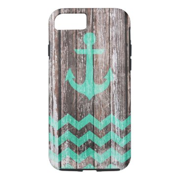 Mint Anchor on old wood iPhone 8/7 Case