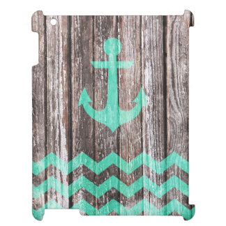 Mint Anchor on old wood Cover For The iPad 2 3 4