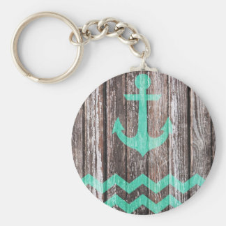 Mint Anchor on old wood Basic Round Button Keychain