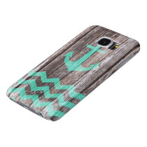 Mint Anchor on old wood Samsung Galaxy S6 Case