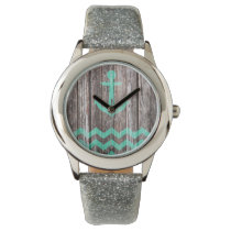 Mint Anchor on old wood Watch