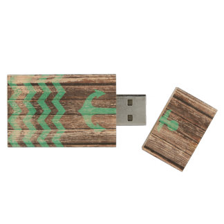 Mint Anchor on old wood Wood Flash Drive