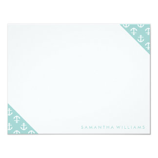 Mint Anchors Pattern Custom Note Cards