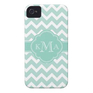 Mint and Aqua Chevron Custom Monogram iPhone 4 Case-Mate Case