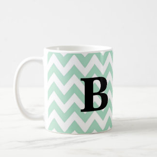 Mint and Black Chevron Monogram Mug