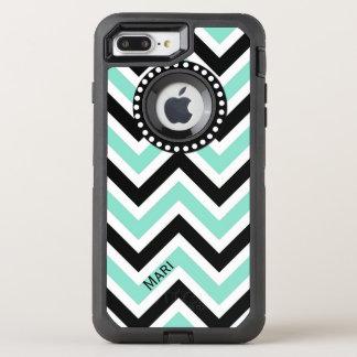 Mint and Black Chevron OtterBox Defender iPhone 7 Plus Case