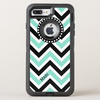 Mint and Black Chevron OtterBox Defender iPhone 8 Plus/7 Plus Case