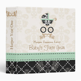 MINT and Black DAMASK Carriage Baby Photo Album Binder