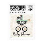 MINT and Black Damask Carriage Baby Shower Stamp