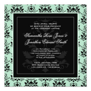 Mint and Black Damask Photo Wedding Invitation 5.25