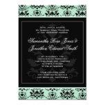 Mint and Black Damask Wedding Invitation