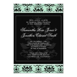 Mint and Black Damask Wedding Invitation 5