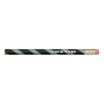 Beach Themed Mint and Black Diagonal Stripes Add Your Name Pencil