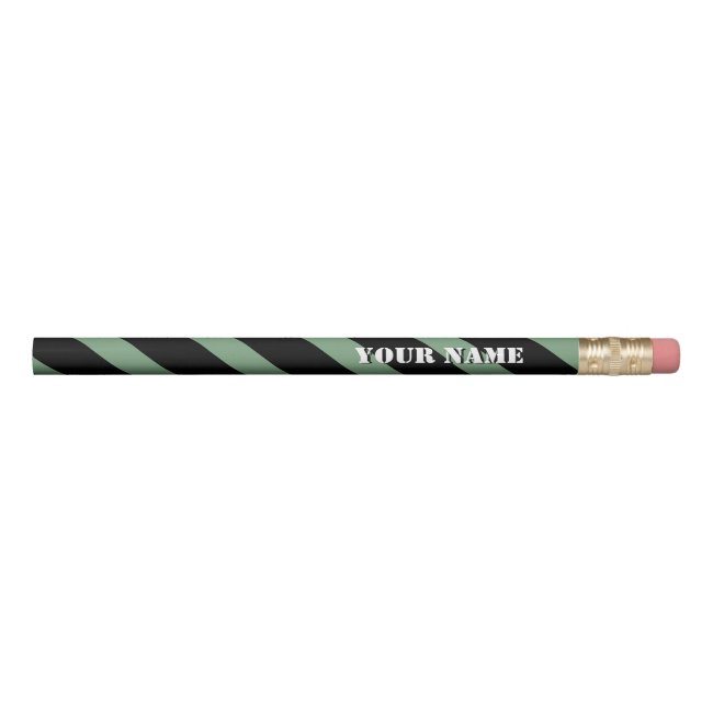 Mint and Black Diagonal Stripes Add Your Name