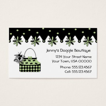 Professional Business Mint and Black Dog Boutique Business Card