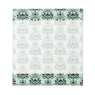 Mint and Black Elegant Damask Print Notepad