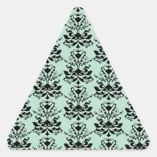 Mint and Black Elegant Damask Print Triangle Sticker