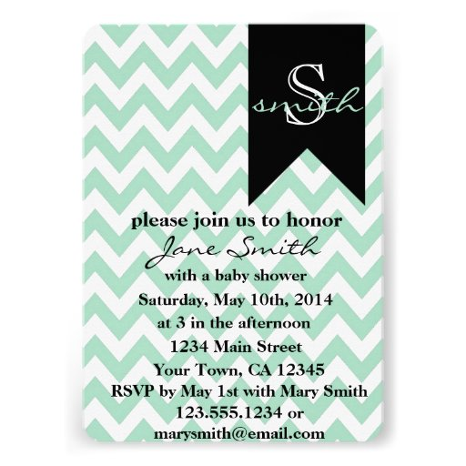 black monogram baby shower invitation 5 x 7 invitation card