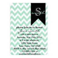 Mint and Black Monogram Baby Shower Invitation