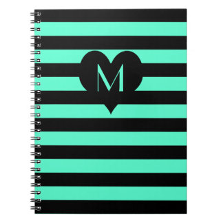 Mint and Black Stripes - Monogram Notebook