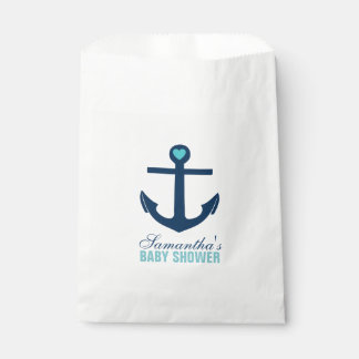 Mint and Blue Anchor Favor Bags