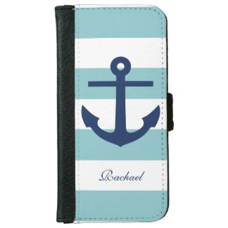 Mint and Blue Anchors Aweigh iPhone 6 Wallet Case