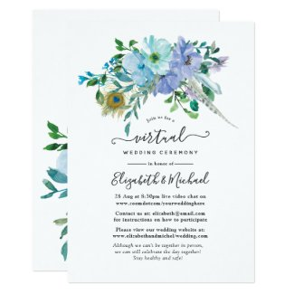 Mint and Blue Boho Floral Online Virtual Wedding Invitation