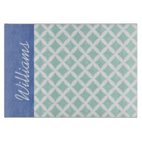 Mint and Blue Diamonds Custom Monogram Cutting Boards