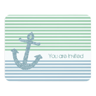 Mint and Blue Stripes Nautical Baby Shower Card