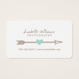 Mint and Brown Heart and Arrow Business Card