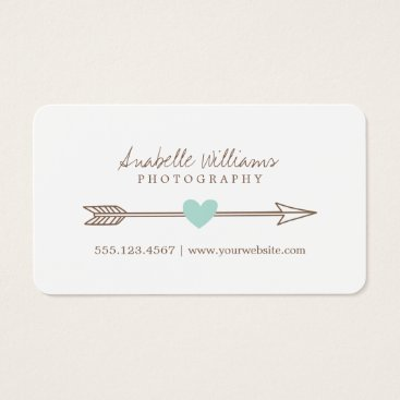 heartlocked Mint and Brown Heart and Arrow Business Card