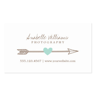 Mint and Brown Heart and Arrow Double-Sided Standard Business Cards (Pack Of 100)