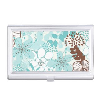 Mint and Brown Modern Floral Pattern